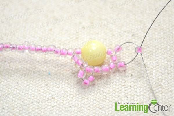 Add one 3mm seed bead per wire