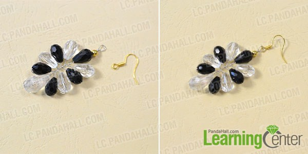 make the rest part of the white and black glass bead earrings