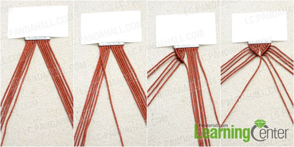 Make double half hitch knots with cords