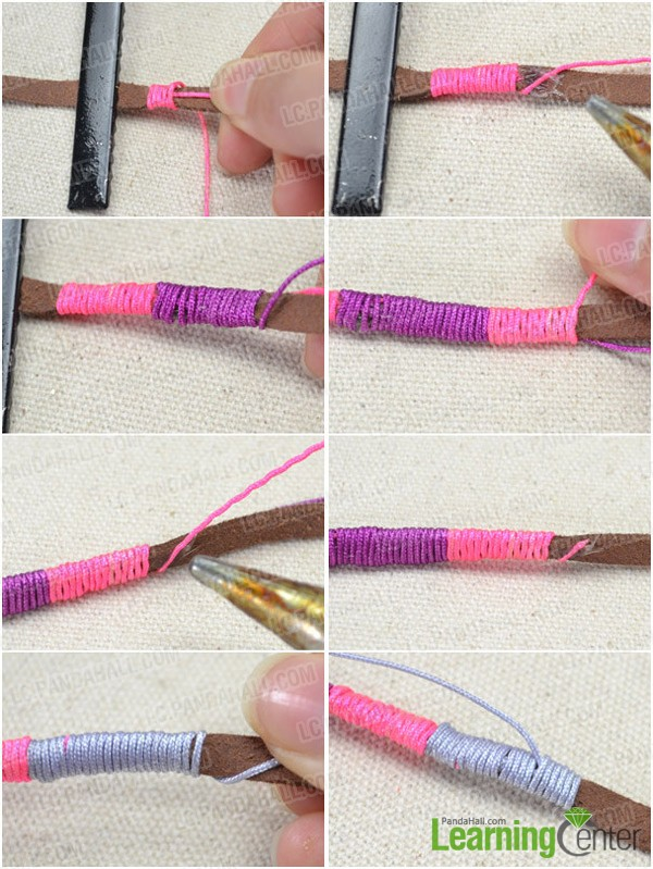 Step 1: Wrap threads around first strand