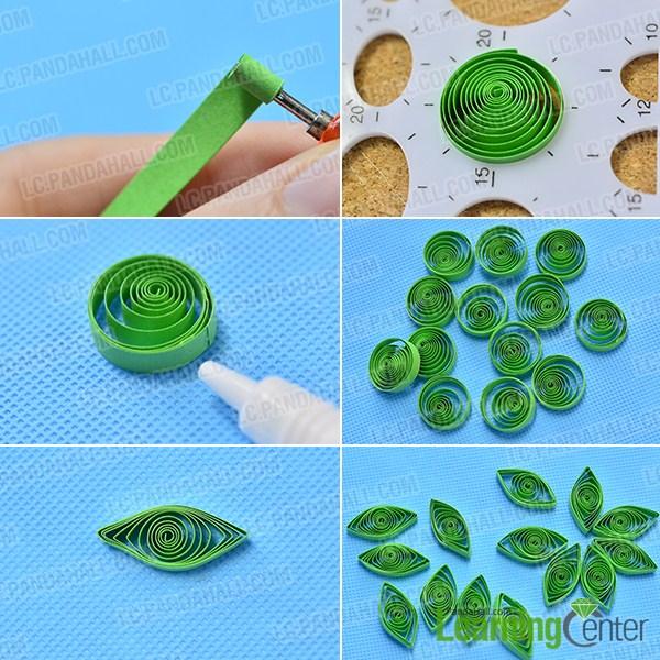 Make 14 green quilling paper petals