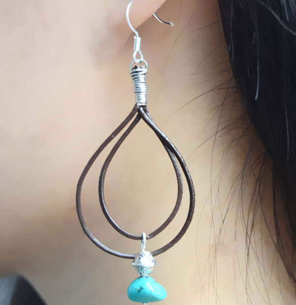 leather double drop earrings