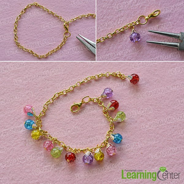 Finish the glass beaded chain bracelet