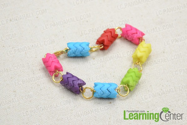 Rainbow beaded bracelet looks like this: