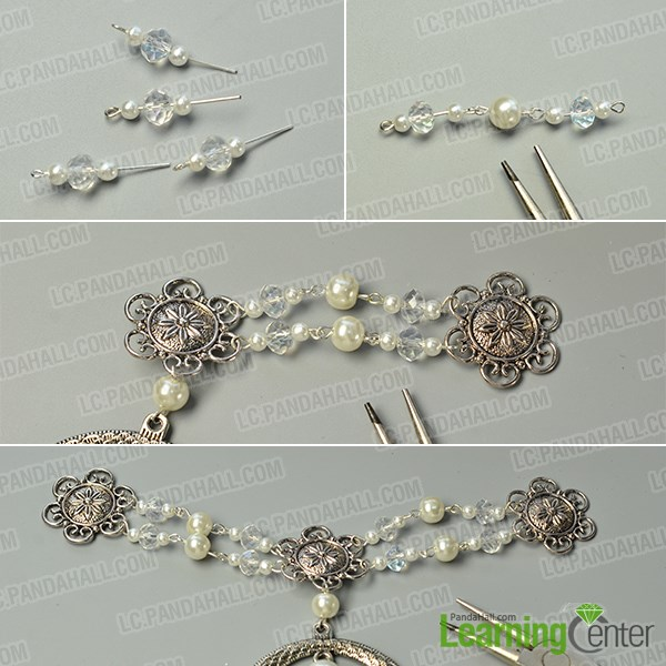 make the second part of the Tibetan flower pearl hair jewelry
