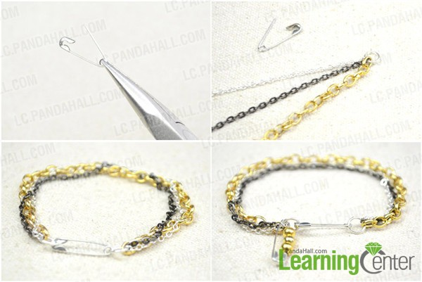 Instruction for making triple chain bracelet
