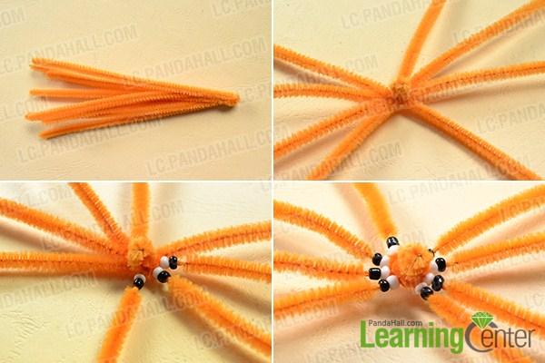 make the first part of the orange chenille stem spider craft
