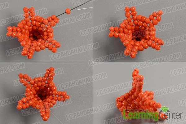 Finish this orange seed beaded flower pattern