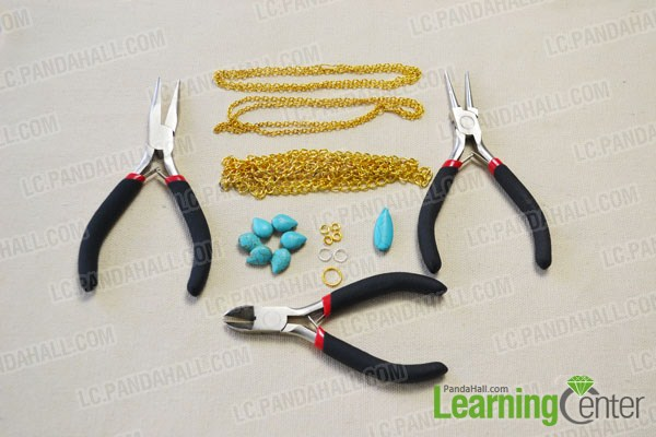 materials needed in DIY the turquoise chain headpiece