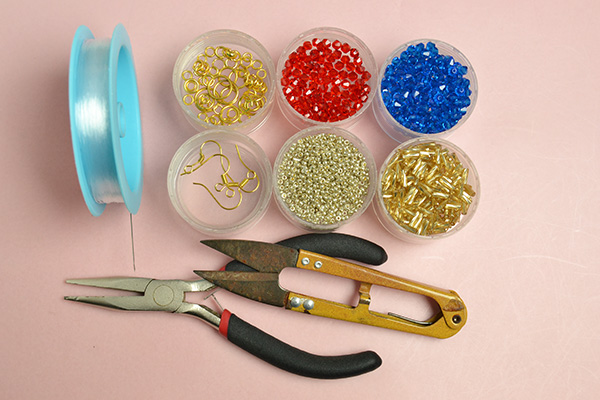 Supplies needed to make the star earrings