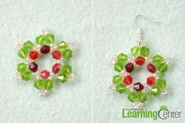 Finish beaded snowflake earrings pattern