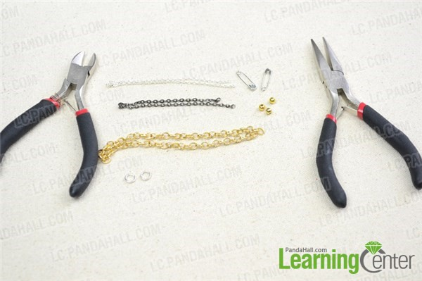 Materials and tools for making triple chain bracelet