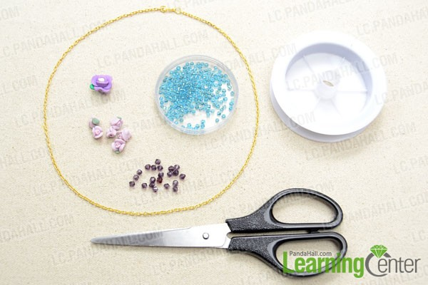 Supplies needed in the flower cluster pendant