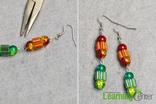 Finish the colorful beaded dangle earrings