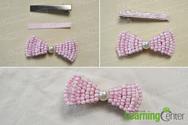 How to Make Your Own Stitch Pink Beaded Hair Bows Tutorial 4