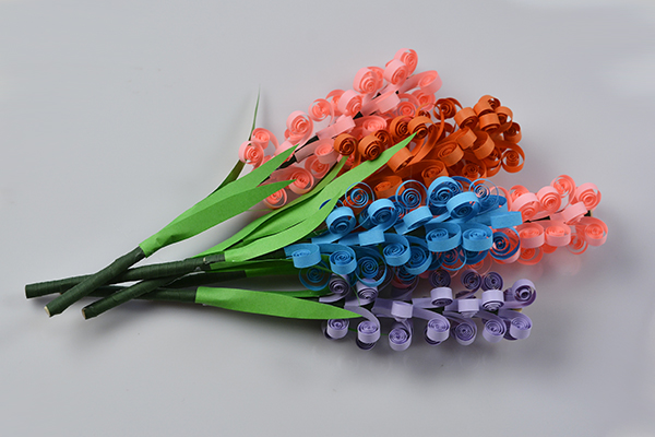 final look of the handmade quilling paper flower bouquet