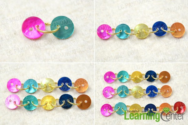 Instruction on how to make dangle button earrings