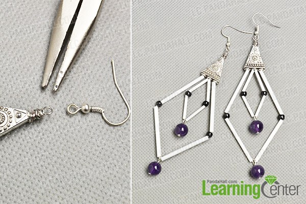 finish the Tibetan bugle and seed beads earrings