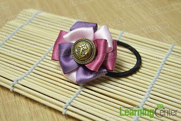 Finished Layered Ribbon Flower Elastic Hair Tie