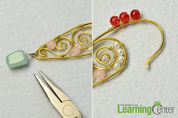 finish the wire and beads hoop earrings