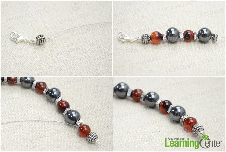 Step 1: String agate beads on