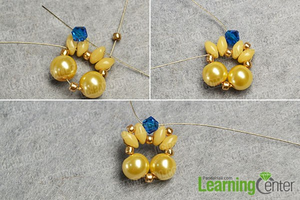 Add blue beads to the yellow bead pattern
