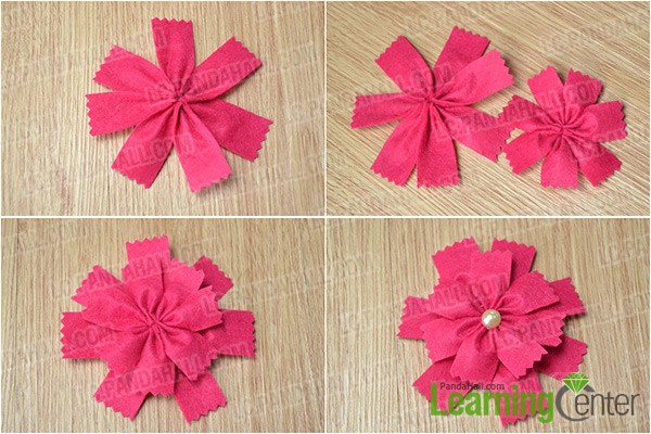 make two felt flowers
