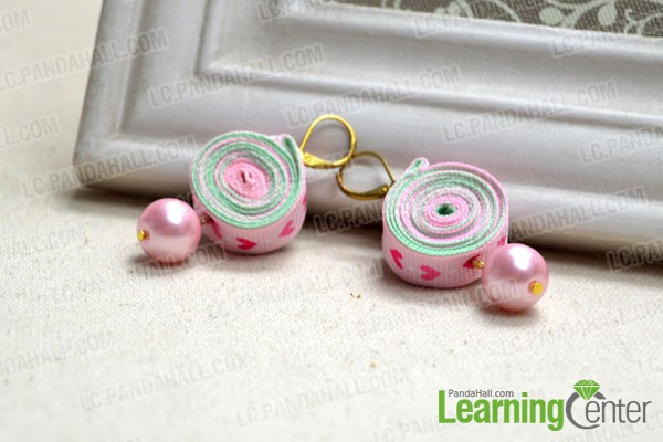 finished pink ribbon earrings