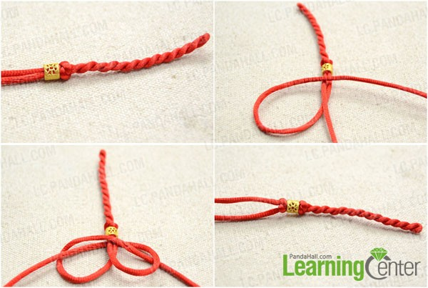 String beads and secure with snake knot