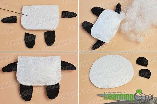 make the body of the felt panda