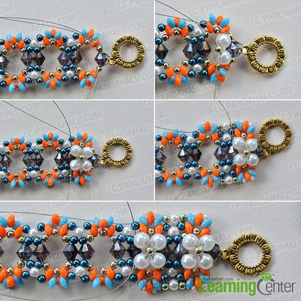make the third part of the 2-hole seed bead flower bracelet