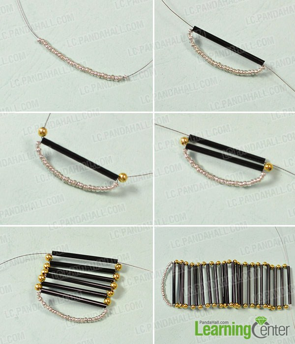 make the first part of the wide bead bangle bracelet