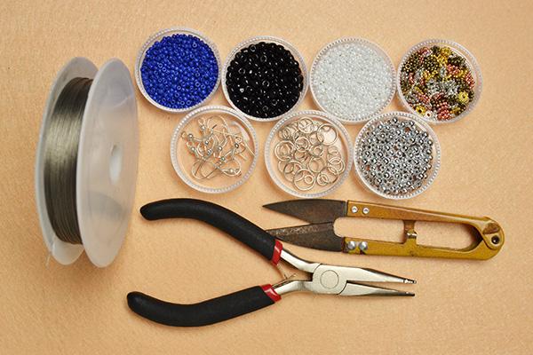 Supplies needed in making the drop bead earrings