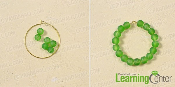 Hoop the green frosted glass beads