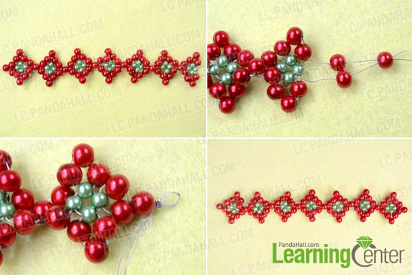 How to Make a Beaded Christmas Bracelet with Firebrick and Green ...