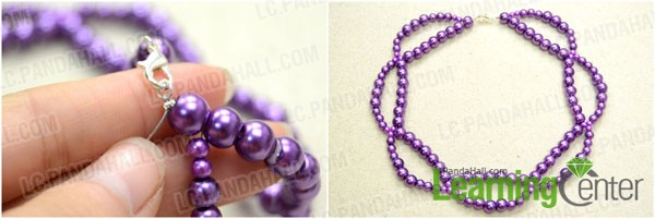 Complete the entire purple pearl necklace