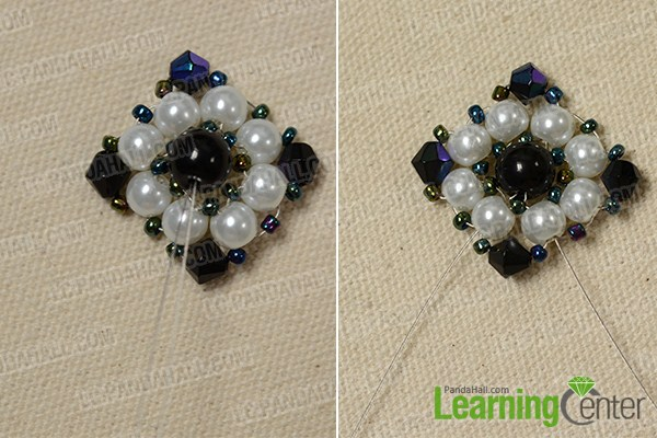 make the main part of the rhombus flower bead ring