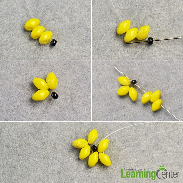 make the first part of the flower beads earrings