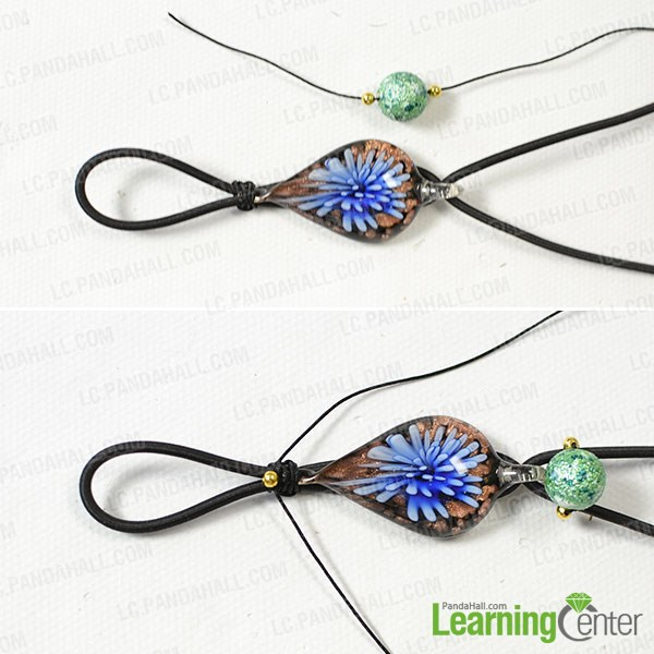 Add beads to the string