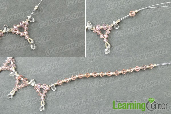 making the bead chains for the crystal wedding necklace