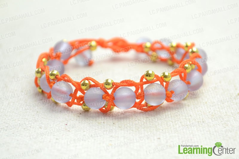 finished Braided Friendship Bracelet with Small-hole Beads