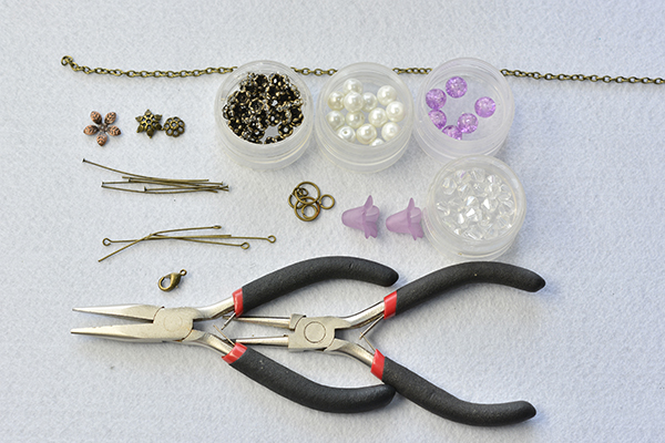 supplies needed in DIY the purple flower pendant necklace