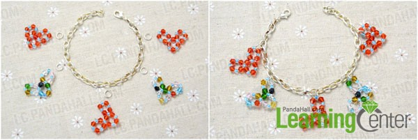 attah the charms onto bracelet making chain