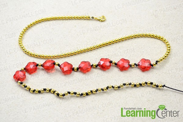 make the last 15cm bead and knot part