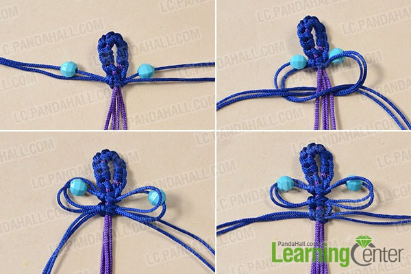 make the main part of the blue and red thread bracelet