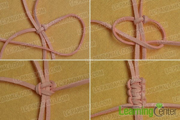 make more square knots until you get your desired length of the dangle decoration pattern