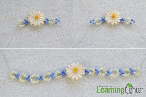 Step 3: finish the daisy beaded flower bracelet pattern 1
