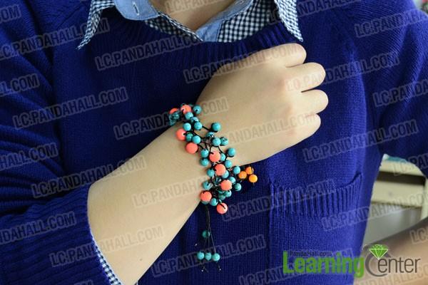 finished multi-strand string and bead bracelet