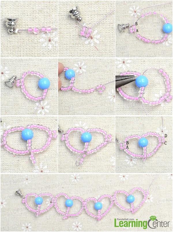 make beaded heart bracelet