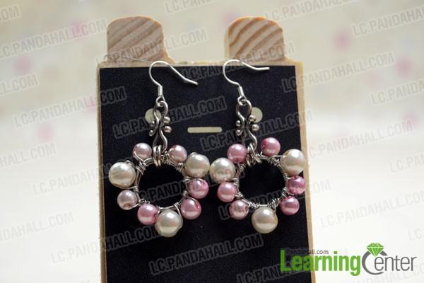 finished wire wrap pearl hoop earrings